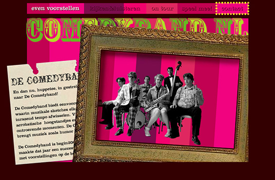 Screenshot van de Comedyband Website