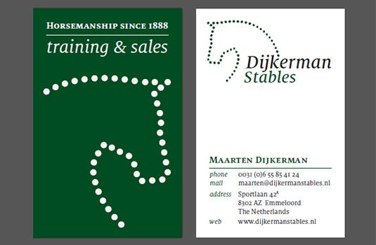 Visitekaartje voor Dijkerman Stables / Stal Dijkerman