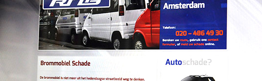 Screenshot van de website voor RNB Autoschade