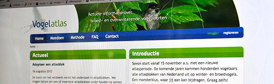 Screenshot van de Vogelatlas website voor Sovon