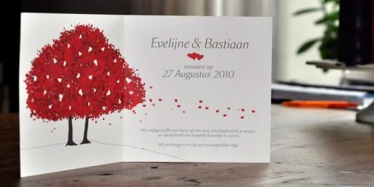 Trouwkaart Bastiaan & Evelijne