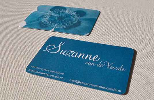 Visitekaartje Suzanne in Aqua Turquoise Blauw